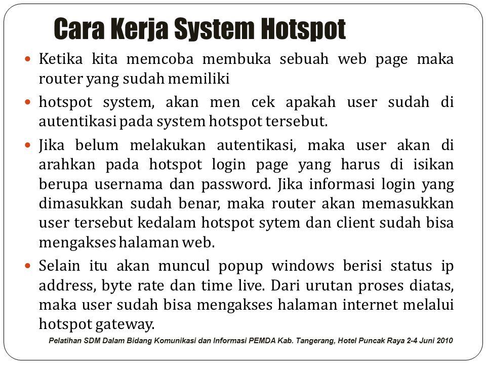 Cara Kerja System Hotspot Ketika kita memcoba membuka sebuah web page maka router yang sudah memiliki hotspot system, akan men cek apakah user sudah di autentikasi pada system hotspot tersebut.