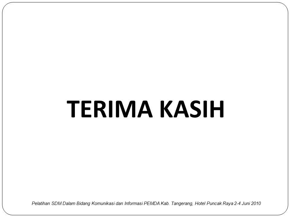 TERIMA KASIH Pelatihan SDM Dalam Bidang Komunikasi dan Informasi PEMDA Kab. Tangerang, Hotel Puncak Raya 2-4 Juni 2010