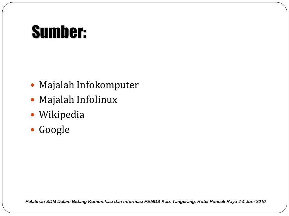 Sumber: Majalah Infokomputer Majalah Infolinux Wikipedia Google Pelatihan SDM Dalam Bidang Komunikasi dan Informasi PEMDA Kab. Tangerang, Hotel Puncak