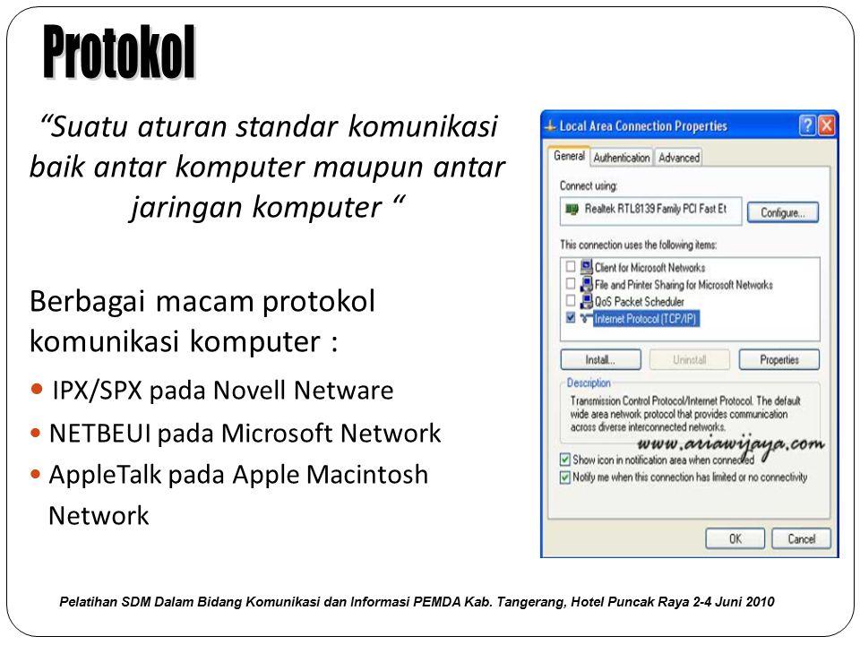 """Suatu aturan standar komunikasi baik antar komputer maupun antar jaringan komputer "" Berbagai macam protokol komunikasi komputer : IPX/SPX pada Novel"
