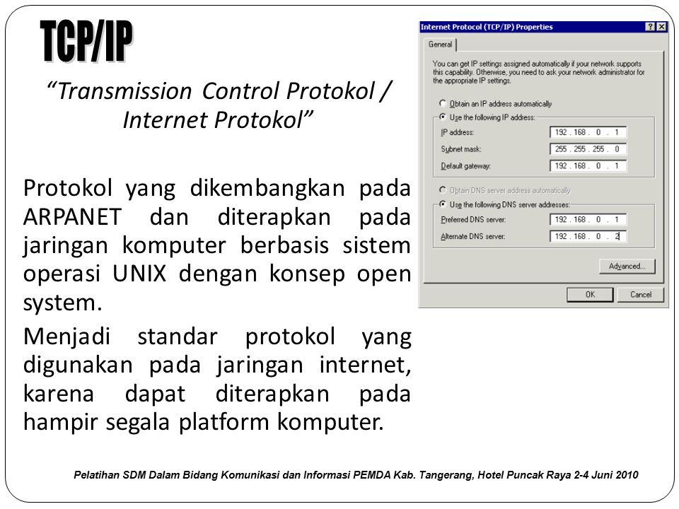 """""""Transmission Control Protokol / Internet Protokol"""" Protokol yang dikembangkan pada ARPANET dan diterapkan pada jaringan komputer berbasis sistem oper"""