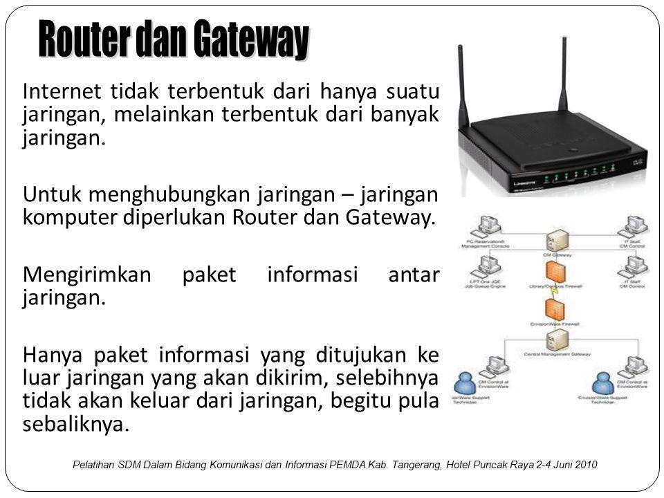 Dengan konsep dari protokol TCP/IP, setiap komputer atau Host yang terhubung di Internet mempunyai satu alamat yang unik, dikenal sebagai IP Address (Internet Protokol Address) Alamat sebesar 32-bit, direpresentasikan dalam bentuk desimal dibagi menjadi 4 bagian, dipisahkan dengan titik.