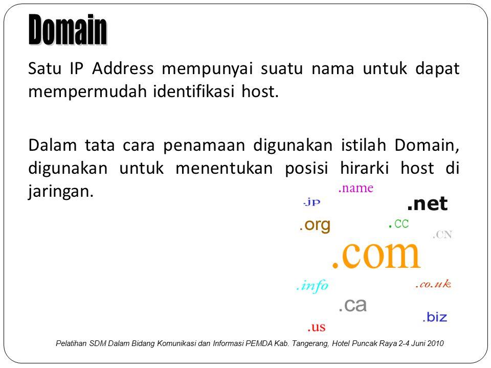 Satu IP Address mempunyai suatu nama untuk dapat mempermudah identifikasi host. Dalam tata cara penamaan digunakan istilah Domain, digunakan untuk men