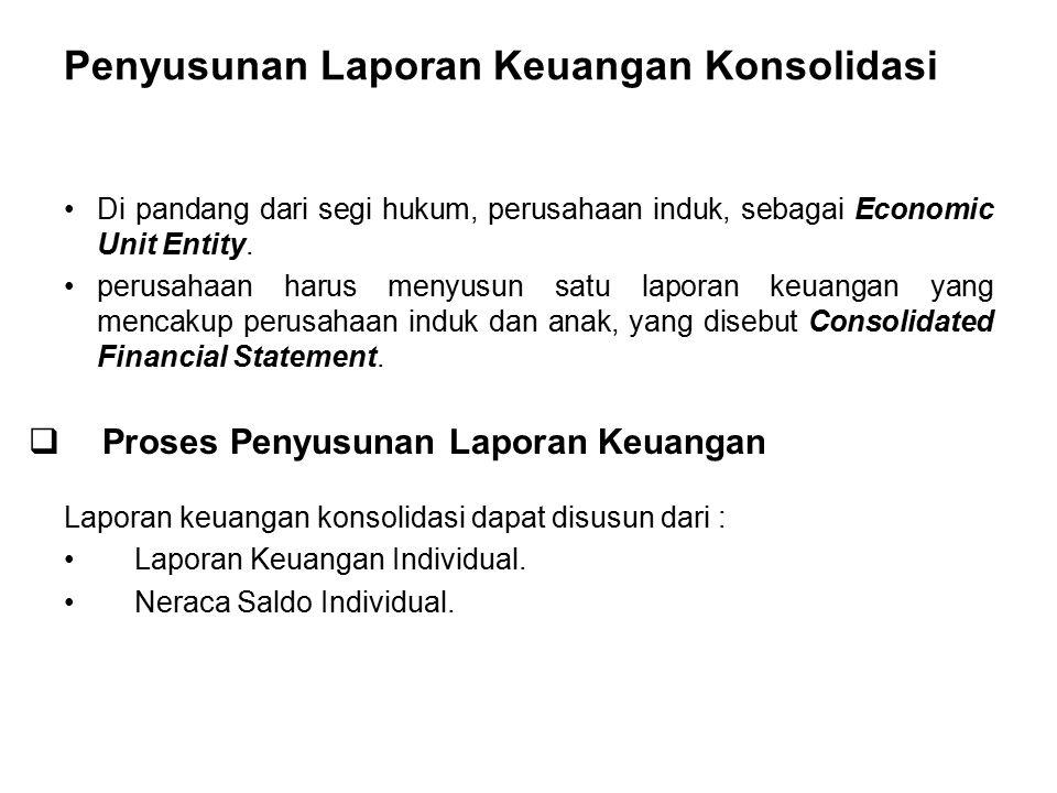 Penyusunan Laporan Keuangan Konsolidasi Di pandang dari segi hukum, perusahaan induk, sebagai Economic Unit Entity. perusahaan harus menyusun satu lap