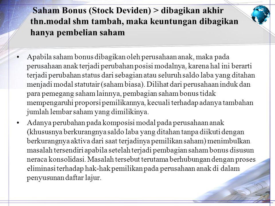 Saham Bonus (Stock Deviden) > dibagikan akhir thn.modal shm tambah, maka keuntungan dibagikan hanya pembelian saham Apabila saham bonus dibagikan oleh