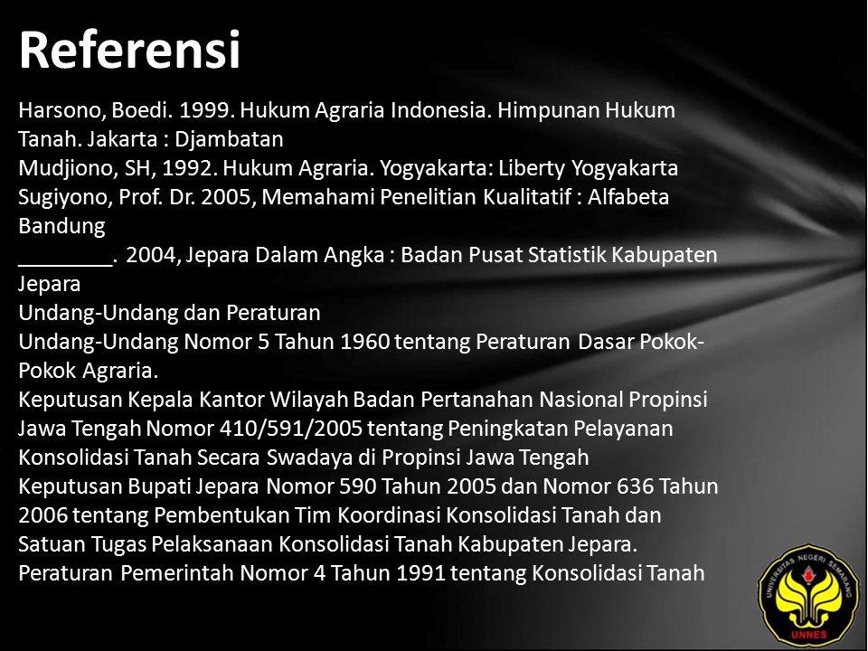 Referensi Harsono, Boedi. 1999. Hukum Agraria Indonesia.