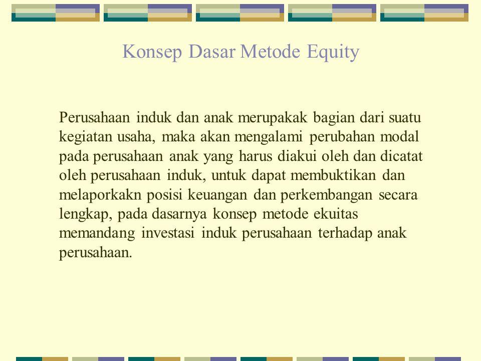 Konsep Dasar Metode Equity Perusahaan induk dan anak merupakak bagian dari suatu kegiatan usaha, maka akan mengalami perubahan modal pada perusahaan a