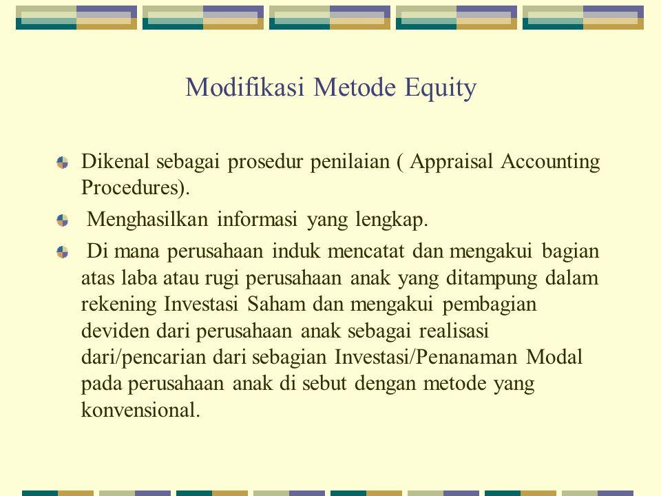 Modifikasi Metode Equity Dikenal sebagai prosedur penilaian ( Appraisal Accounting Procedures). Menghasilkan informasi yang lengkap. Di mana perusahaa