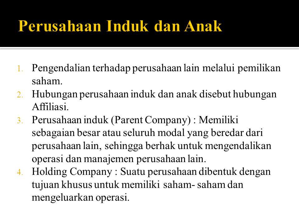 1. Pengendalian terhadap perusahaan lain melalui pemilikan saham. 2. Hubungan perusahaan induk dan anak disebut hubungan Affiliasi. 3. Perusahaan indu