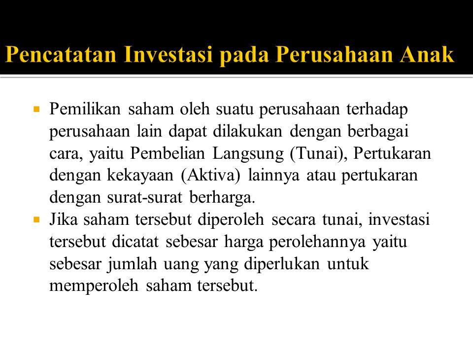  Pemilikan saham oleh suatu perusahaan terhadap perusahaan lain dapat dilakukan dengan berbagai cara, yaitu Pembelian Langsung (Tunai), Pertukaran dengan kekayaan (Aktiva) lainnya atau pertukaran dengan surat-surat berharga.