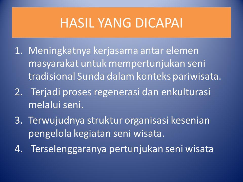 HASIL YANG DICAPAI 1.Meningkatnya kerjasama antar elemen masyarakat untuk mempertunjukan seni tradisional Sunda dalam konteks pariwisata. 2. Terjadi p