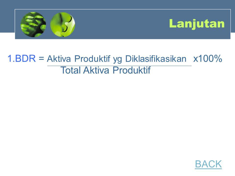 Lanjutan 1.BDR = Aktiva Produktif yg Diklasifikasikan x100% Total Aktiva Produktif BACK