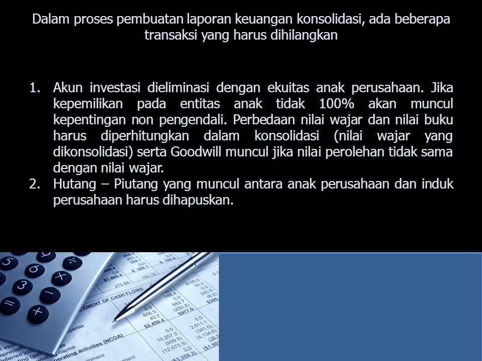 Dalam proses pembuatan laporan keuangan konsolidasi, ada beberapa transaksi yang harus dihilangkan 1.Akun investasi dieliminasi dengan ekuitas anak pe