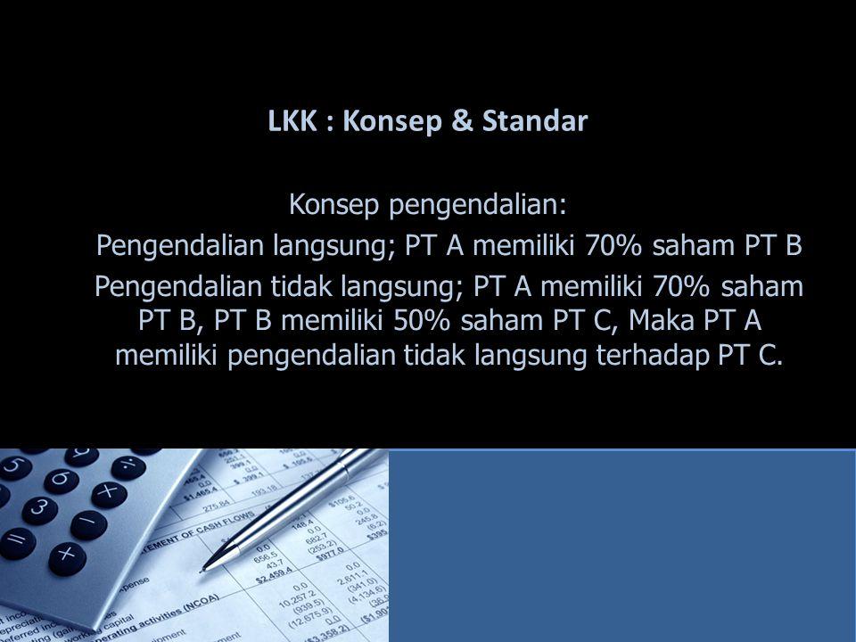 LKK : Konsep & Standar Konsep pengendalian: Pengendalian langsung; PT A memiliki 70% saham PT B Pengendalian tidak langsung; PT A memiliki 70% saham P