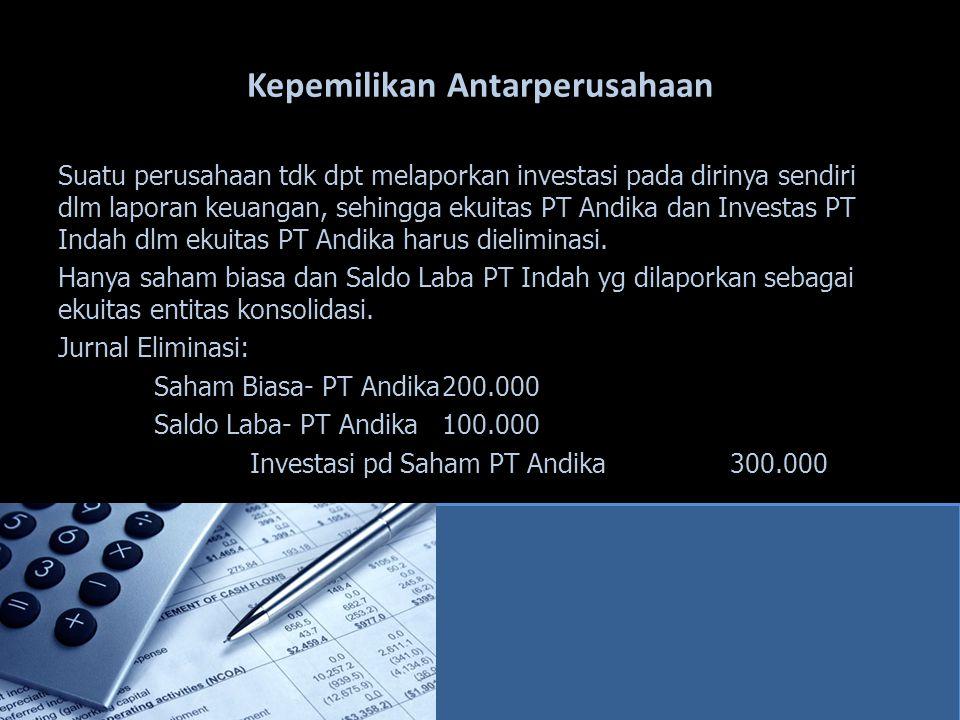 Kepemilikan Antarperusahaan Suatu perusahaan tdk dpt melaporkan investasi pada dirinya sendiri dlm laporan keuangan, sehingga ekuitas PT Andika dan In