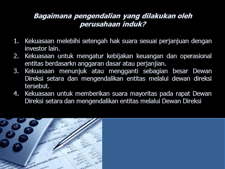 Kepemilikan Antarperusahaan Suatu perusahaan tdk dpt melaporkan investasi pada dirinya sendiri dlm laporan keuangan, sehingga ekuitas PT Andika dan Investas PT Indah dlm ekuitas PT Andika harus dieliminasi.