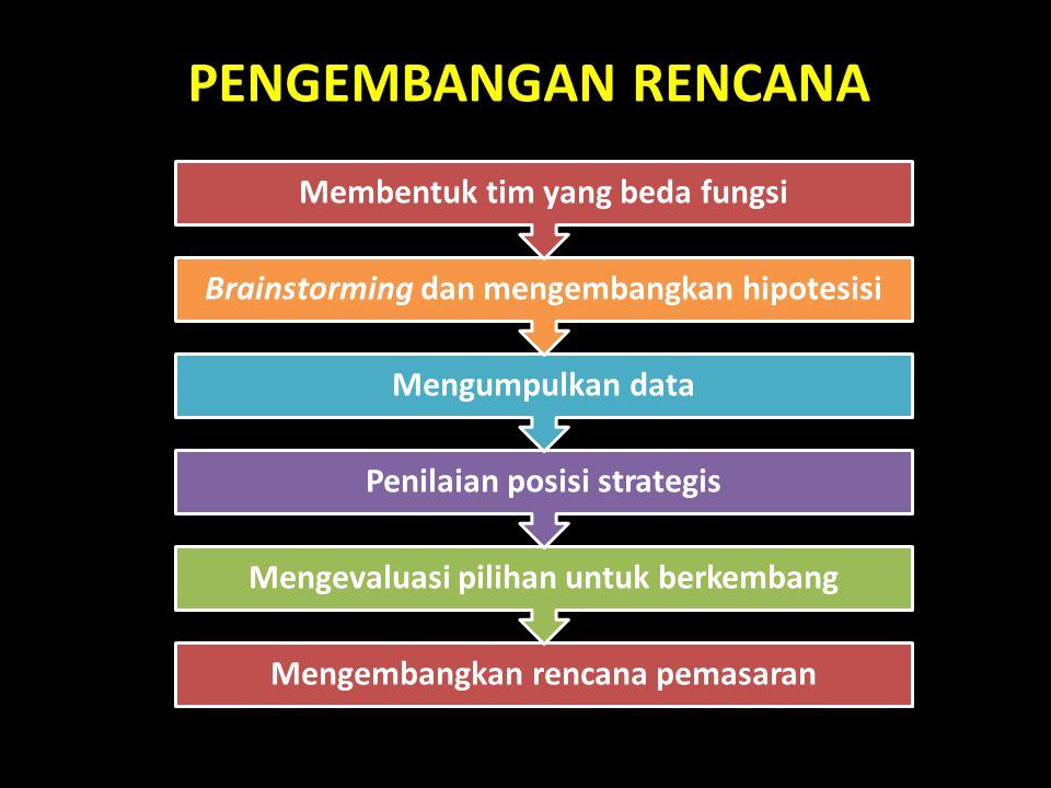 PENGEMBANGAN RENCANA Mengembangkan rencana pemasaran Mengevaluasi pilihan untuk berkembang Penilaian posisi strategis Mengumpulkan data Brainstorming dan mengembangkan hipotesisi Membentuk tim yang beda fungsi