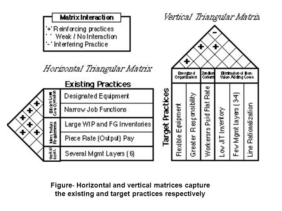 Figure- Horizontal and vertical matrices capture the existing and target practices respectively