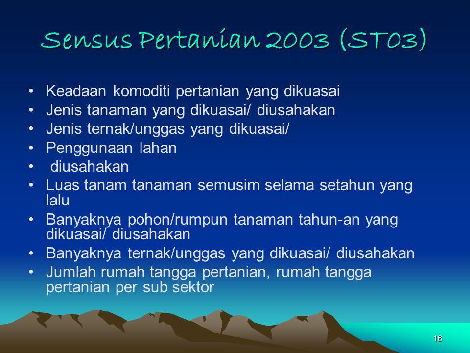 16 Sensus Pertanian 2003 (ST03) Keadaan komoditi pertanian yang dikuasai Jenis tanaman yang dikuasai/ diusahakan Jenis ternak/unggas yang dikuasai/ Pe