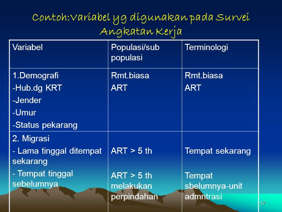 17 Contoh:Variabel yg digunakan pada Survei Angkatan Kerja VariabelPopulasi/sub populasi Terminologi 1.Demografi -Hub.dg KRT -Jender -Umur -Status pek
