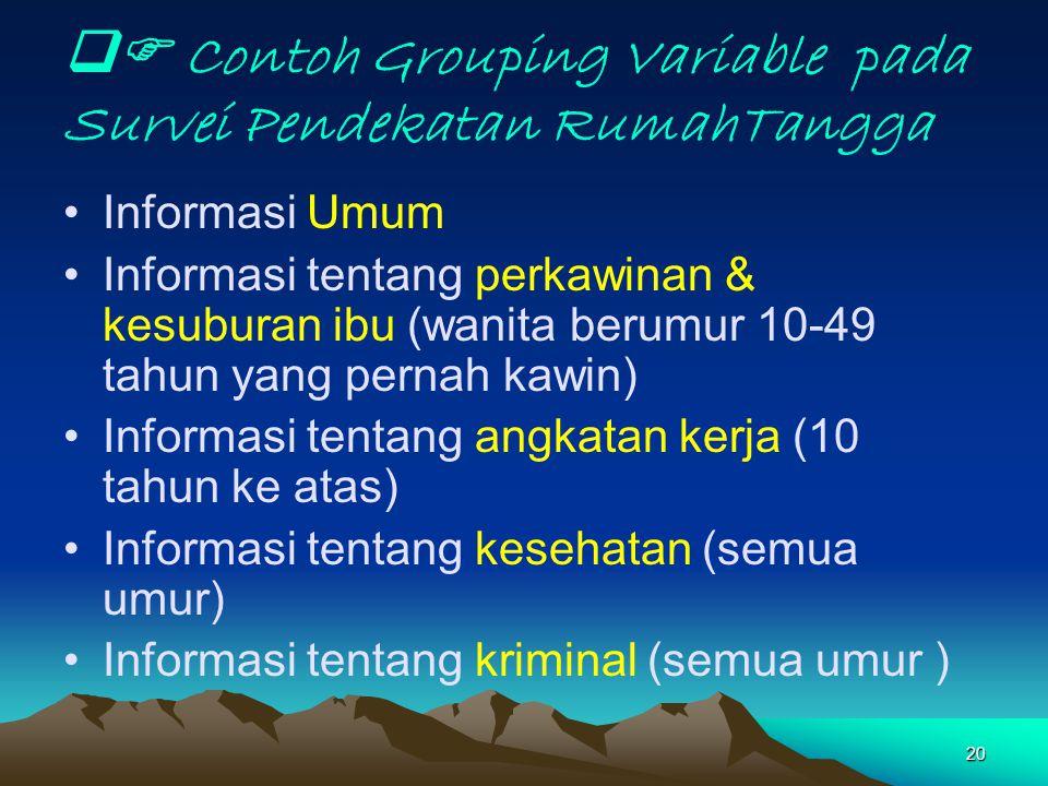 20  Contoh Grouping Variable pada Survei Pendekatan RumahTangga Informasi Umum Informasi tentang perkawinan & kesuburan ibu (wanita berumur 10-49 ta