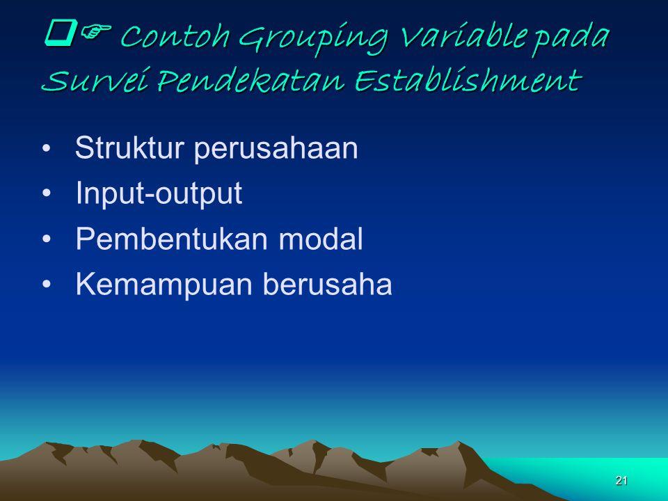 21  Contoh Grouping Variable pada Survei Pendekatan Establishment Struktur perusahaan Input-output Pembentukan modal Kemampuan berusaha
