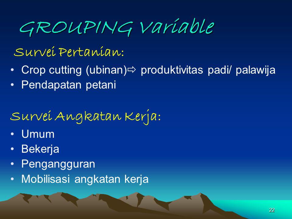 22 GROUPING Variable Survei Pertanian: Crop cutting (ubinan)  produktivitas padi/ palawija Pendapatan petani Survei Angkatan Kerja: Umum Bekerja Peng