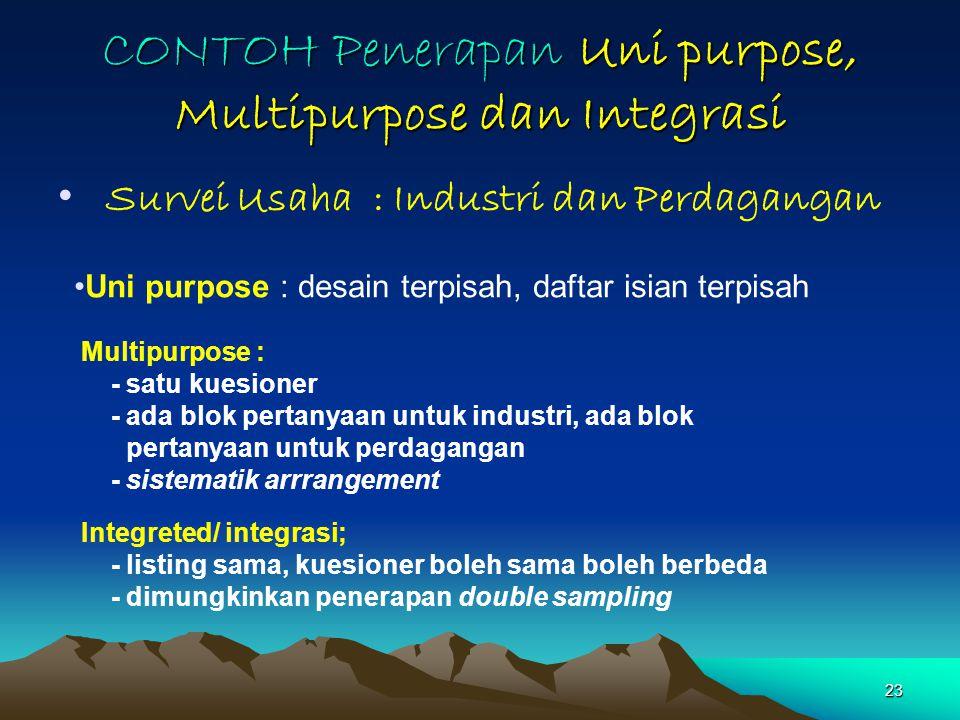 23 CONTOH Penerapan Uni purpose, Multipurpose dan Integrasi Survei Usaha : Industri dan Perdagangan Uni purpose : desain terpisah, daftar isian terpis
