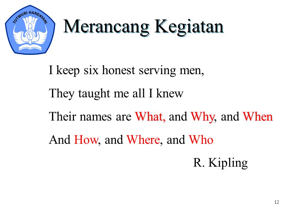 12 Merancang Kegiatan I keep six honest serving men, They taught me all I knew What,WhyWhen Their names are What, and Why, and When And How, and Where