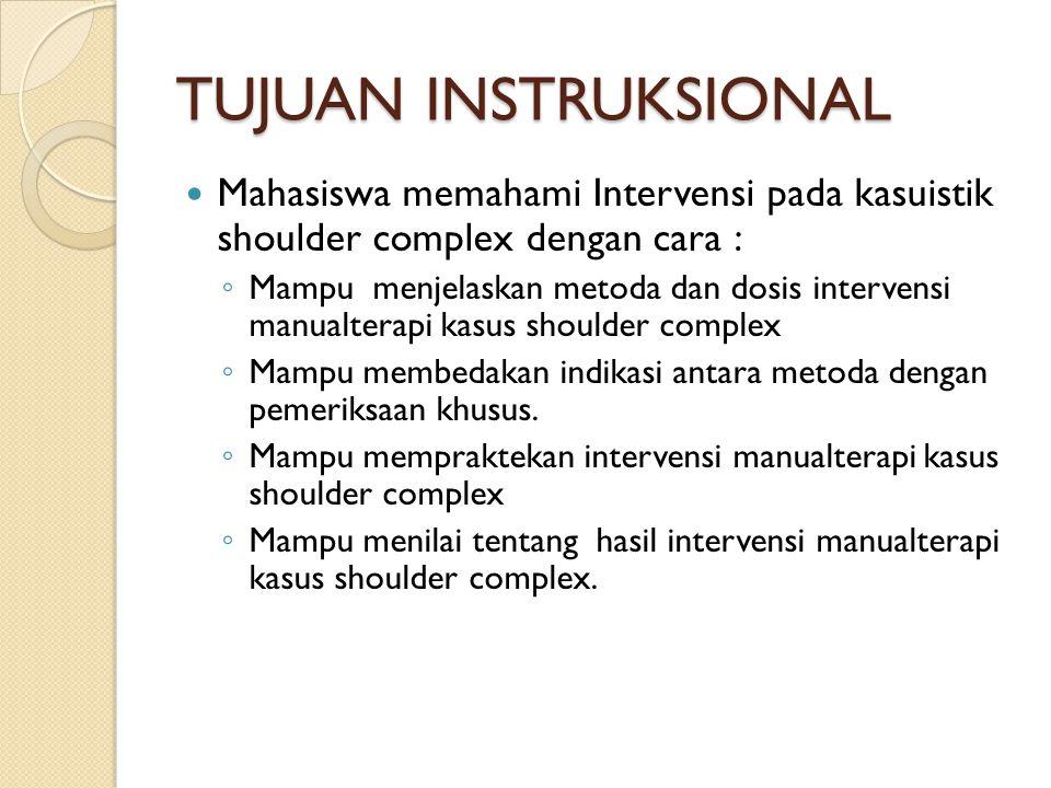 TUJUAN INSTRUKSIONAL Mahasiswa memahami Intervensi pada kasuistik shoulder complex dengan cara : ◦ Mampu menjelaskan metoda dan dosis intervensi manua