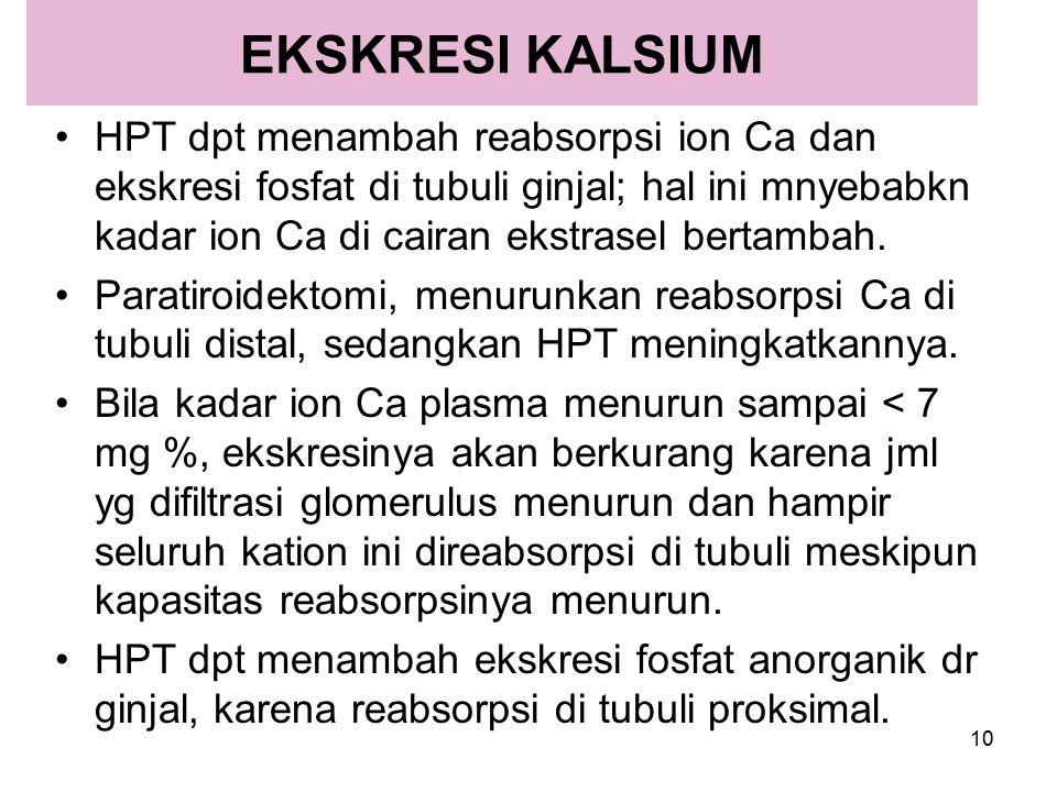 10 EKSKRESI KALSIUM HPT dpt menambah reabsorpsi ion Ca dan ekskresi fosfat di tubuli ginjal; hal ini mnyebabkn kadar ion Ca di cairan ekstrasel bertam