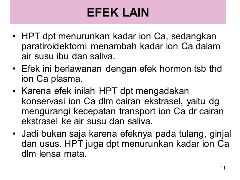 11 EFEK LAIN HPT dpt menurunkan kadar ion Ca, sedangkan paratiroidektomi menambah kadar ion Ca dalam air susu ibu dan saliva. Efek ini berlawanan deng
