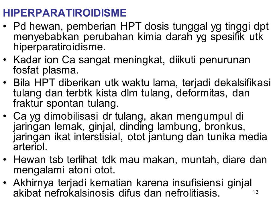13 HIPERPARATIROIDISME Pd hewan, pemberian HPT dosis tunggal yg tinggi dpt menyebabkan perubahan kimia darah yg spesifik utk hiperparatiroidisme. Kada