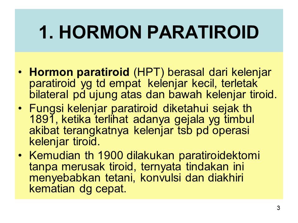3 1. HORMON PARATIROID Hormon paratiroid (HPT) berasal dari kelenjar paratiroid yg td empat kelenjar kecil, terletak bilateral pd ujung atas dan bawah