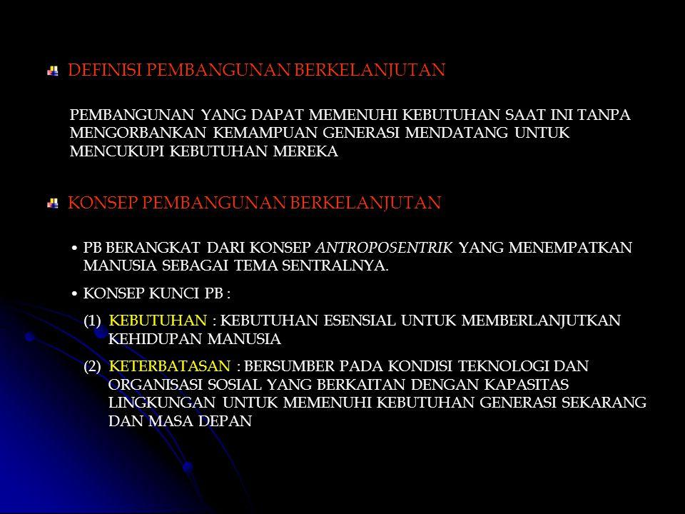 ISTILAH PEMBANGUNAN BERKELANJUTAN BERASAL DARI COMMISION ON ENVIRONMENT AND DEVELOPMENT ( BURTLAND COMMISION ) DALAM LAPORANNYA OUR COMMON FUTURE PADA