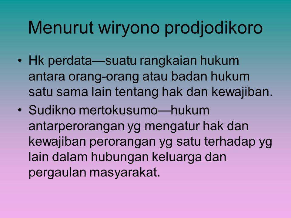 Menurut wiryono prodjodikoro Hk perdata—suatu rangkaian hukum antara orang-orang atau badan hukum satu sama lain tentang hak dan kewajiban. Sudikno me