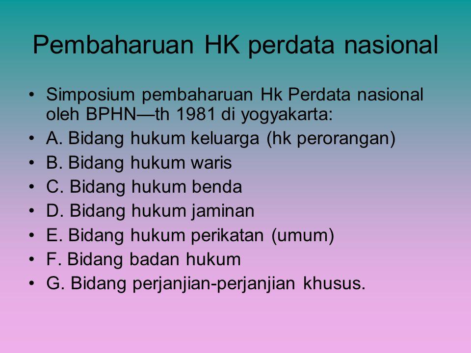 Pembaharuan HK perdata nasional Simposium pembaharuan Hk Perdata nasional oleh BPHN—th 1981 di yogyakarta: A. Bidang hukum keluarga (hk perorangan) B.
