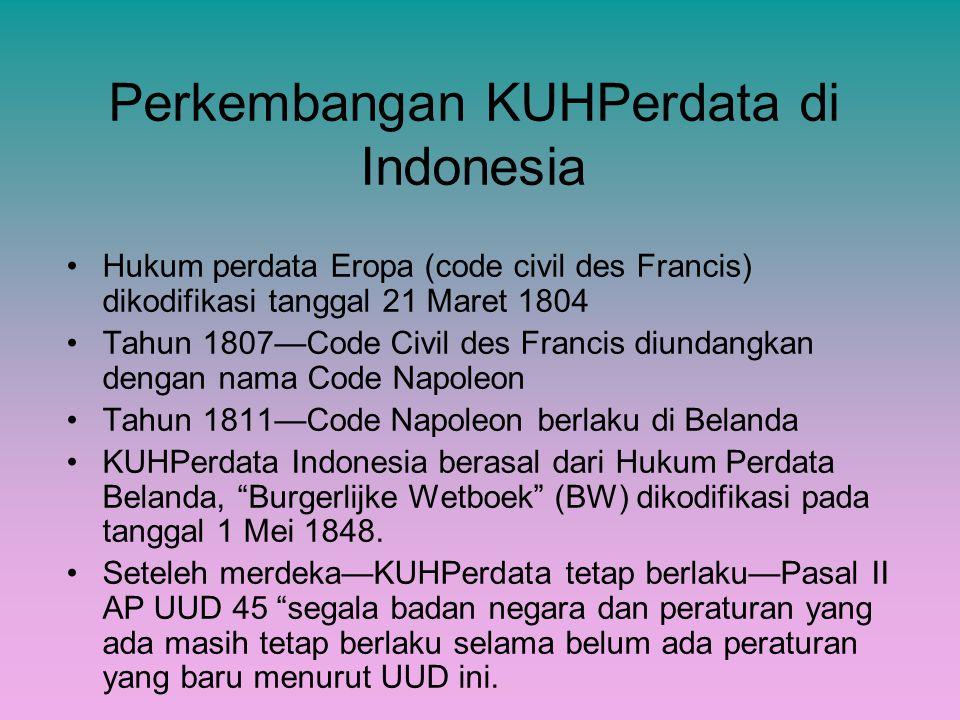 Perkembangan KUHPerdata di Indonesia Hukum perdata Eropa (code civil des Francis) dikodifikasi tanggal 21 Maret 1804 Tahun 1807—Code Civil des Francis