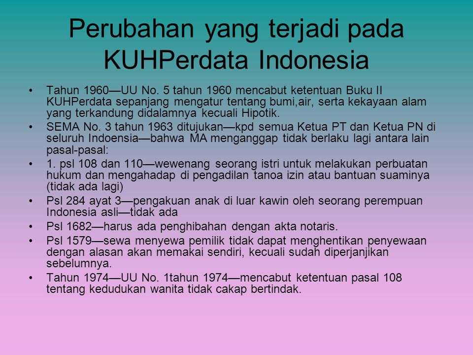 Perubahan yang terjadi pada KUHPerdata Indonesia Tahun 1960—UU No. 5 tahun 1960 mencabut ketentuan Buku II KUHPerdata sepanjang mengatur tentang bumi,