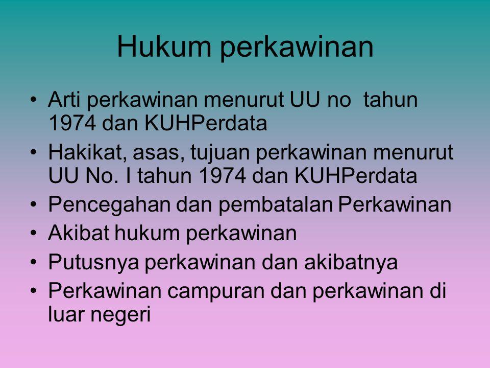 Hukum perkawinan Arti perkawinan menurut UU no tahun 1974 dan KUHPerdata Hakikat, asas, tujuan perkawinan menurut UU No. I tahun 1974 dan KUHPerdata P