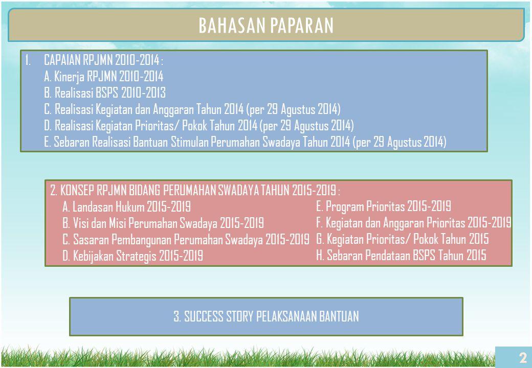 BAHASAN PAPARAN 2 1.CAPAIAN RPJMN 2010-2014 : A. Kinerja RPJMN 2010-2014 B. Realisasi BSPS 2010-2013 C. Realisasi Kegiatan dan Anggaran Tahun 2014 (pe