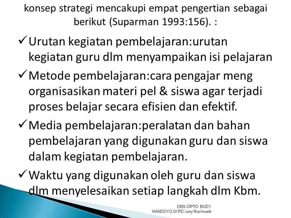 konsep strategi mencakupi empat pengertian sebagai berikut (Suparman 1993:156). : Urutan kegiatan pembelajaran:urutan kegiatan guru dlm menyampaikan i