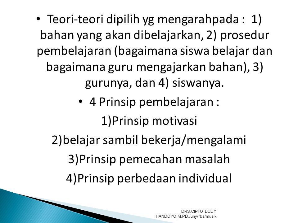 Teori-teori dipilih yg mengarahpada : 1) bahan yang akan dibelajarkan, 2) prosedur pembelajaran (bagaimana siswa belajar dan bagaimana guru mengajarka
