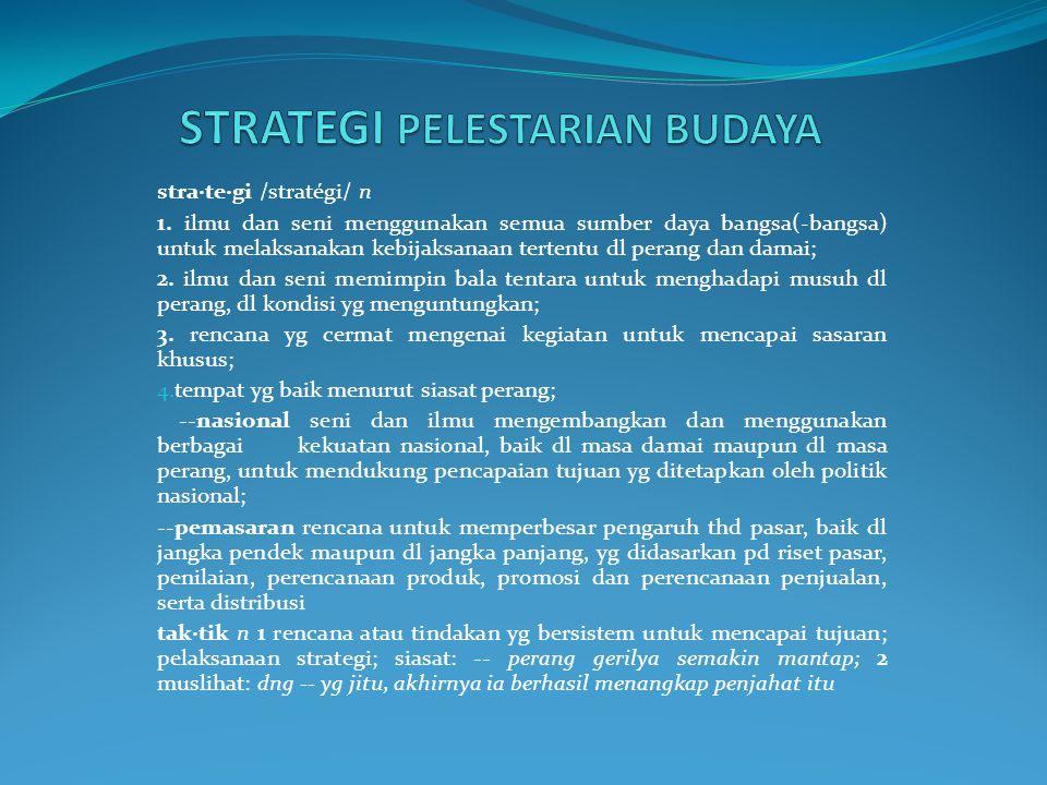stra·te·gi /stratégi/ n 1.