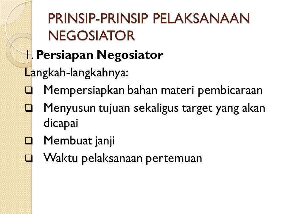 PRINSIP-PRINSIP PELAKSANAAN NEGOSIATOR 1.