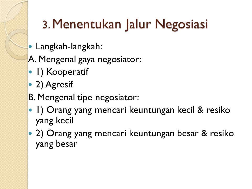 3.Menentukan Jalur Negosiasi Langkah-langkah: A.