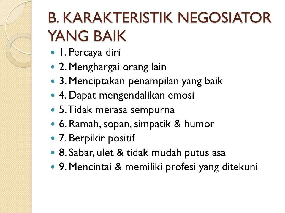 B.KARAKTERISTIK NEGOSIATOR YANG BAIK 1. Percaya diri 2.