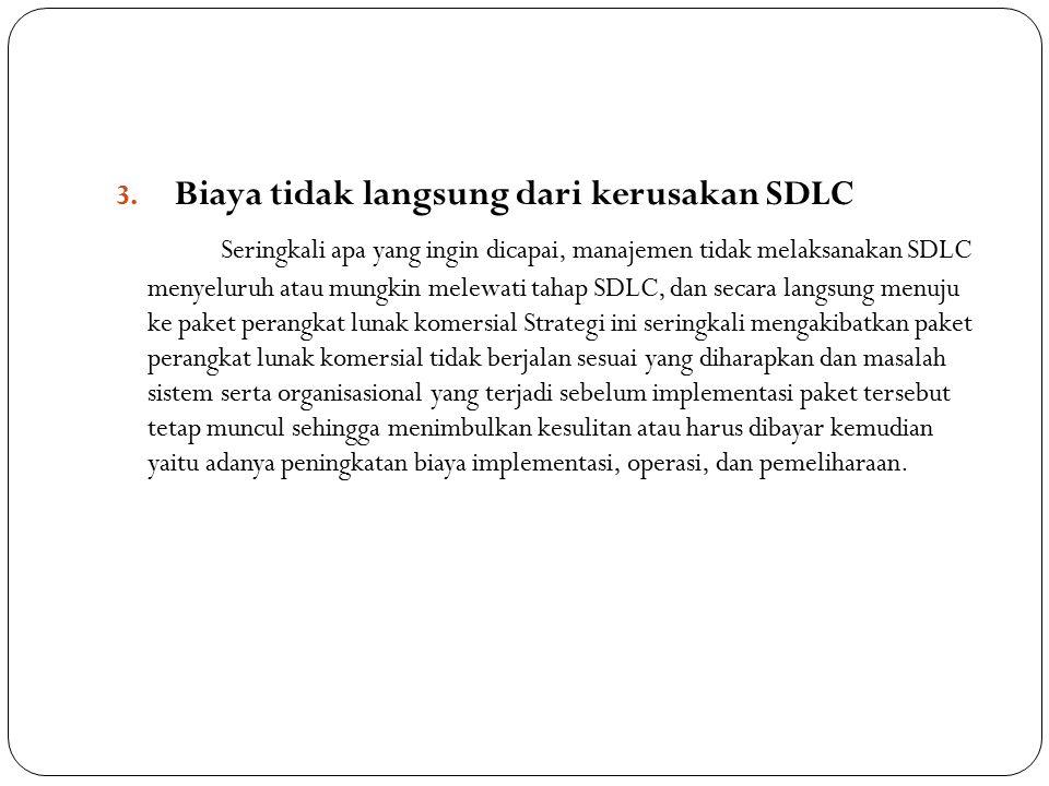 3. Biaya tidak langsung dari kerusakan SDLC Seringkali apa yang ingin dicapai, manajemen tidak melaksanakan SDLC menyeluruh atau mungkin melewati taha
