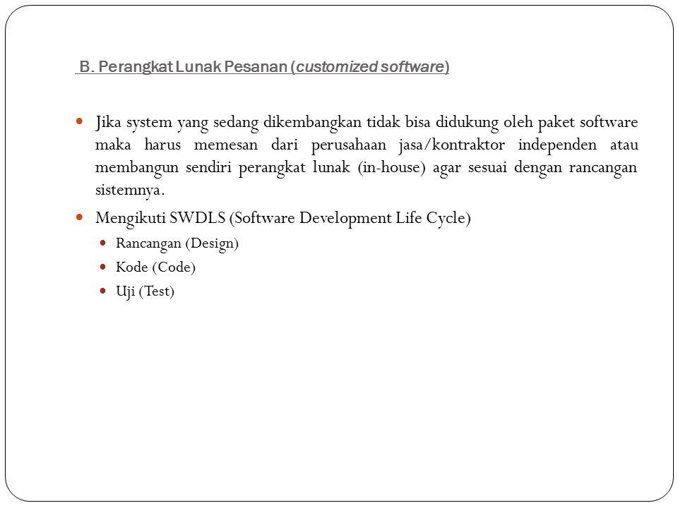 B. Perangkat Lunak Pesanan (customized software) Jika system yang sedang dikembangkan tidak bisa didukung oleh paket software maka harus memesan dari