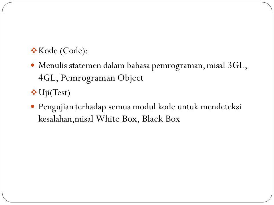  Kode (Code): Menulis statemen dalam bahasa pemrograman, misal 3GL, 4GL, Pemrograman Object  Uji(Test) Pengujian terhadap semua modul kode untuk men